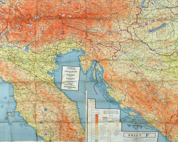 Silk SOE escape map showing part of Yugoslavia, 1944