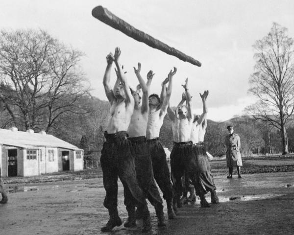 Log training at the Commando Basic Training Centre, Achnacarry, c1943