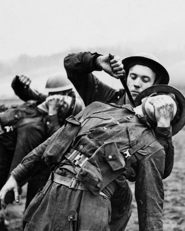 Recruits undergoing close quarter combat training at the Commando Training Centre, Achnacarry, c1942