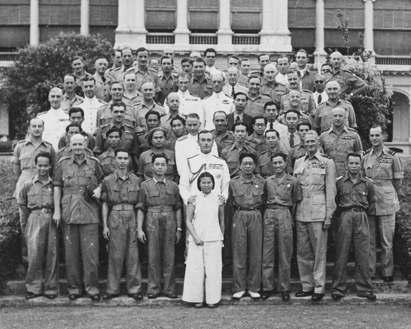 Admiral Lord Louis Mountbatten with Force 136 leaders after their disbandment in Singapore, 1946