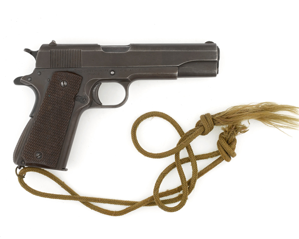 Colt 45 automatic pistol carried at St. Nazaire by Lieutenant Colonel Augustus Newman who won the Victoria Cross during the raid