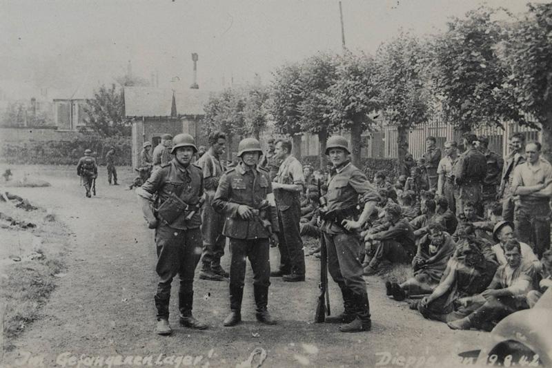 Prisoners under guard at Dieppe, 1942