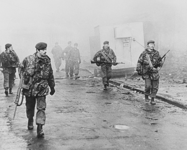 2nd Battalion The Parachute Regiment enter Port Stanley, 1982