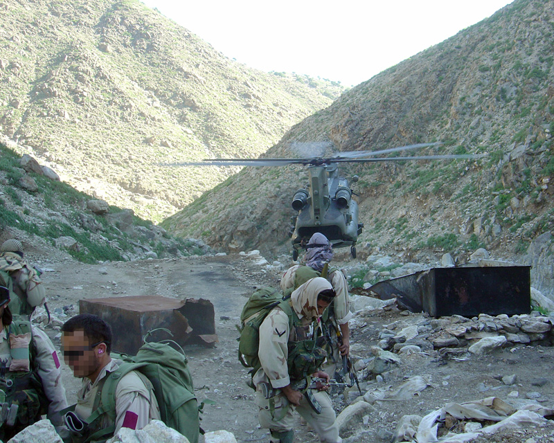 SAS troop having been dropped by helicopter into an Afghan valley, c2006