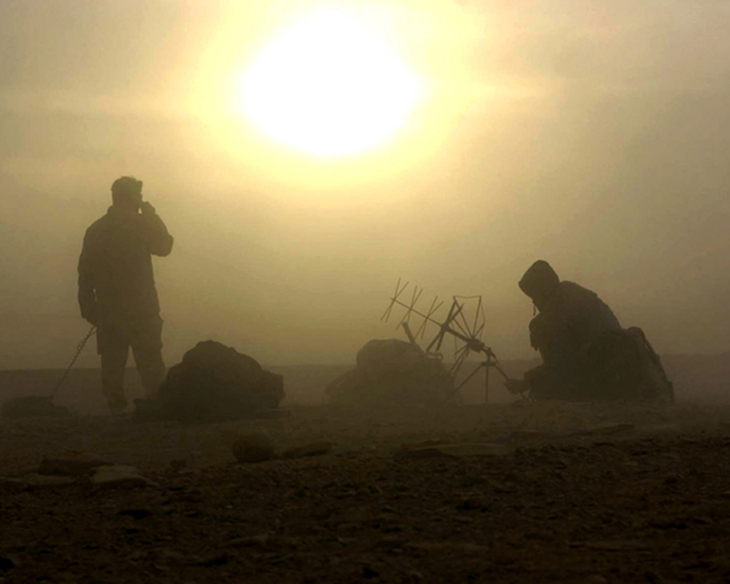Special forces troops signalling in the Afghan desert, c2008
