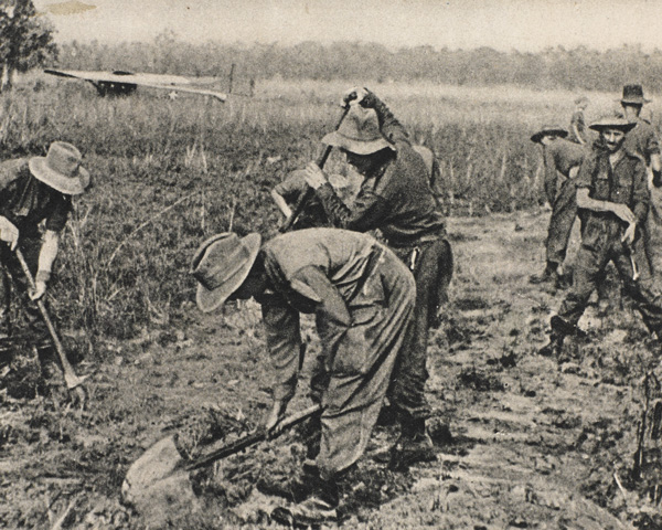 Chindits clear a makeshift airfield at White City, Burma, 1944