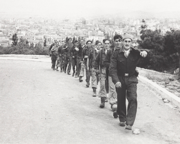Sergeant Herbert Chambers with fellow Special Boat Service soldiers in Athens, 1944