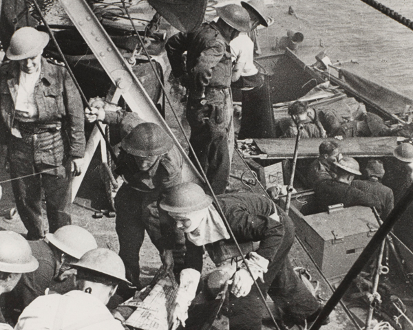 Wounded being brought on board a destroyer off Dieppe, August 1942