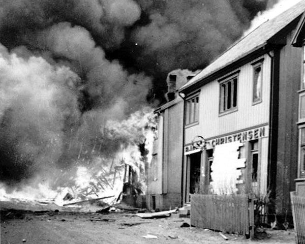 Buildings damaged during a raid on the Lofoten Islands by No. 3 and 4 Commandos, March 1941