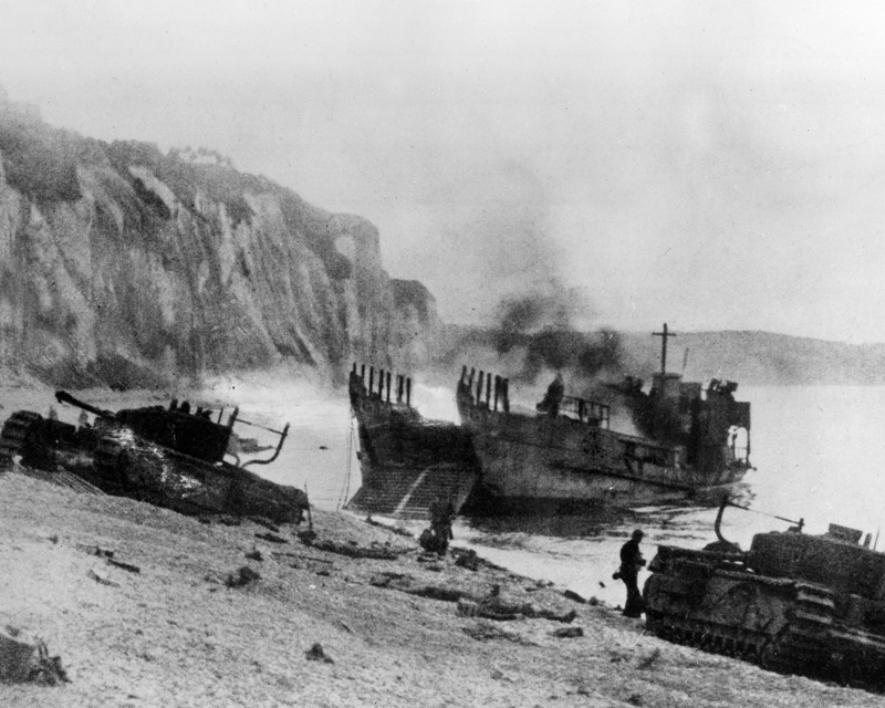 Damaged tanks and landing craft, Dieppe, August 1942