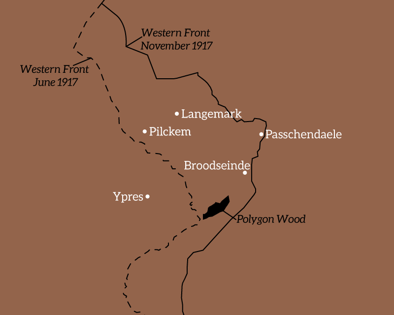 Map of the area around Ypres, Belgium, 1917