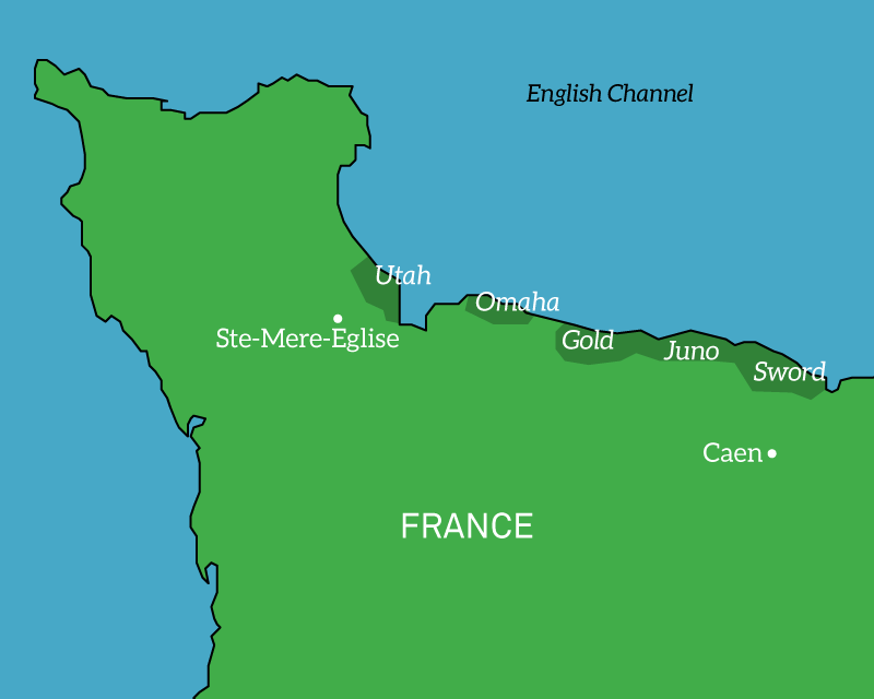 Map of the Normandy landing beaches, France, 1944