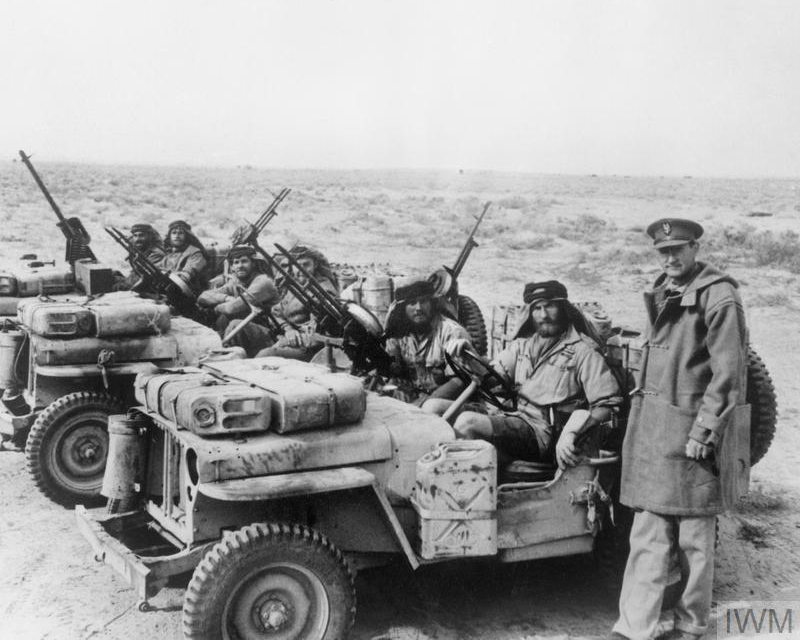 David Stirling greets an SAS jeep patrol on its return from a desert mission, 1942