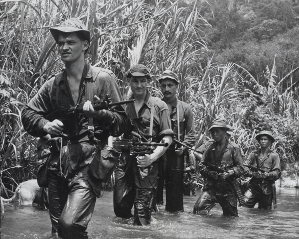 SAS troops operating in the Malayan jungle, 1957