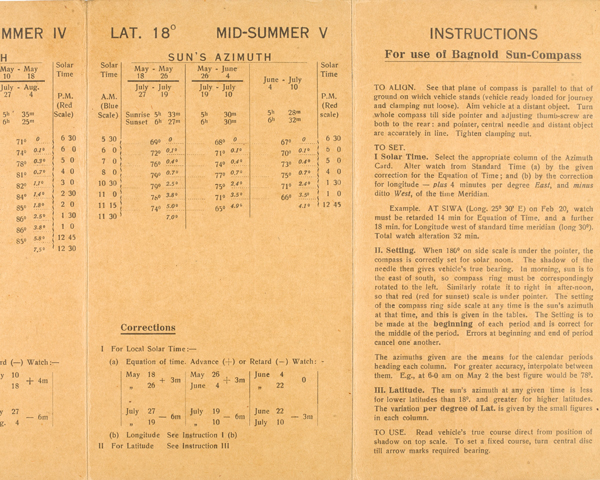 Instructions for using Bagnold Sun-Compass, 1942