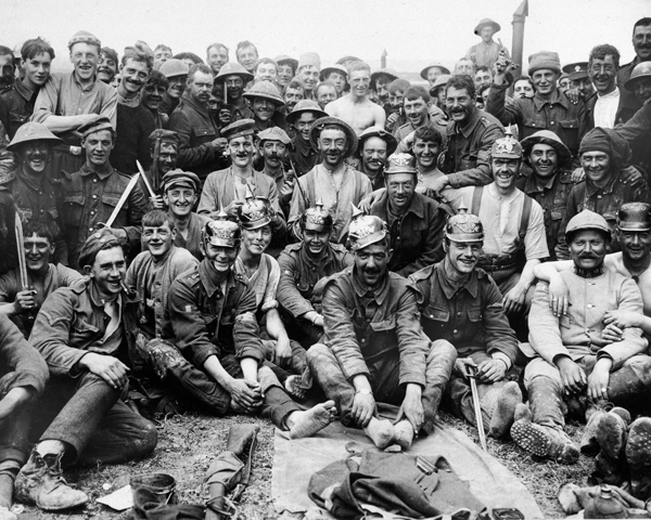 Soldiers from the 13th Royal Fusiliers rest after their attack on La Boisselle, July 1916