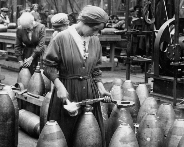 Women workers engaged in shell-production, c1915