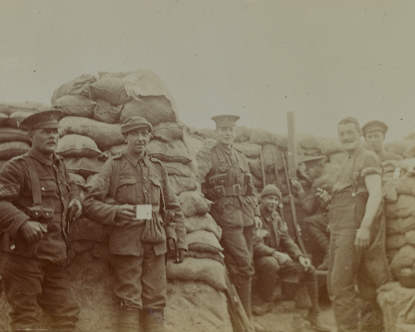 British troops in trenches at Wulverghem to the south of Ypres, 1915