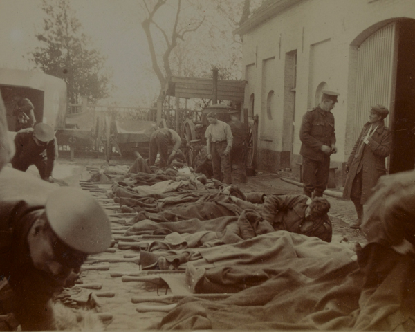 Wounded and gassed from Ypres at hospital in Bailleul, May 1915