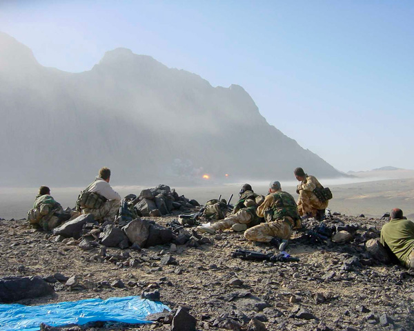 An SAS team calling in fire support, Afghanistan, c2007