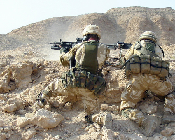 Two SAS men engaging the enemy, Afghanistan, c2006