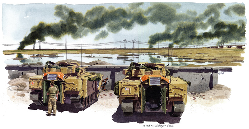 '3RHA FOO at Bridge 4, Basrah', coloured acrylic ink with pen and ink by Matthew Cook, The Times War Artist, 2003