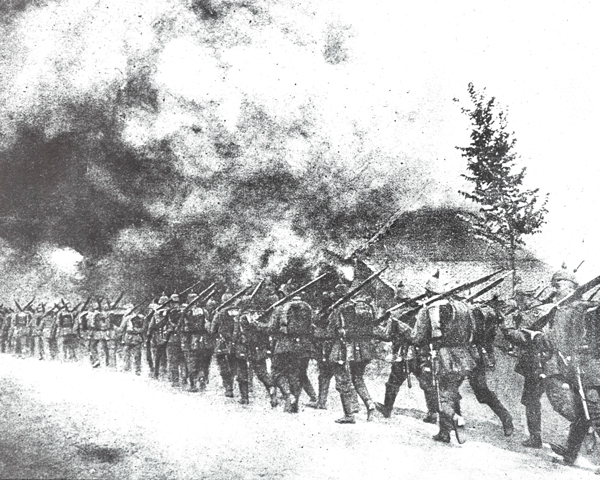 Germans firing a Belgian village, 1914
