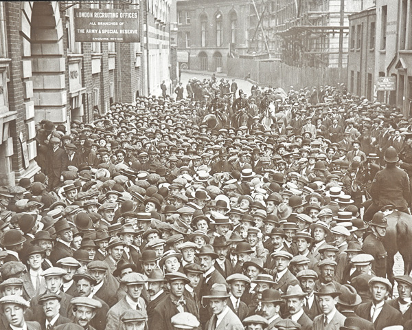 Volunteers outside a London recruiting office, August 1914