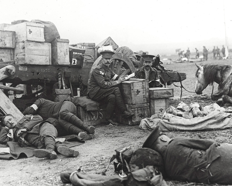 Members of a Red Cross ambulance resting, 1915