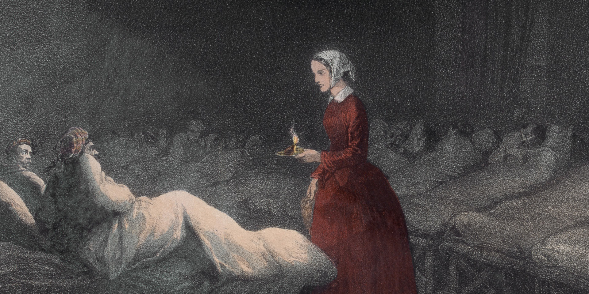 Florence Nightingale tending to wounded soldiers at Scutari Hospital