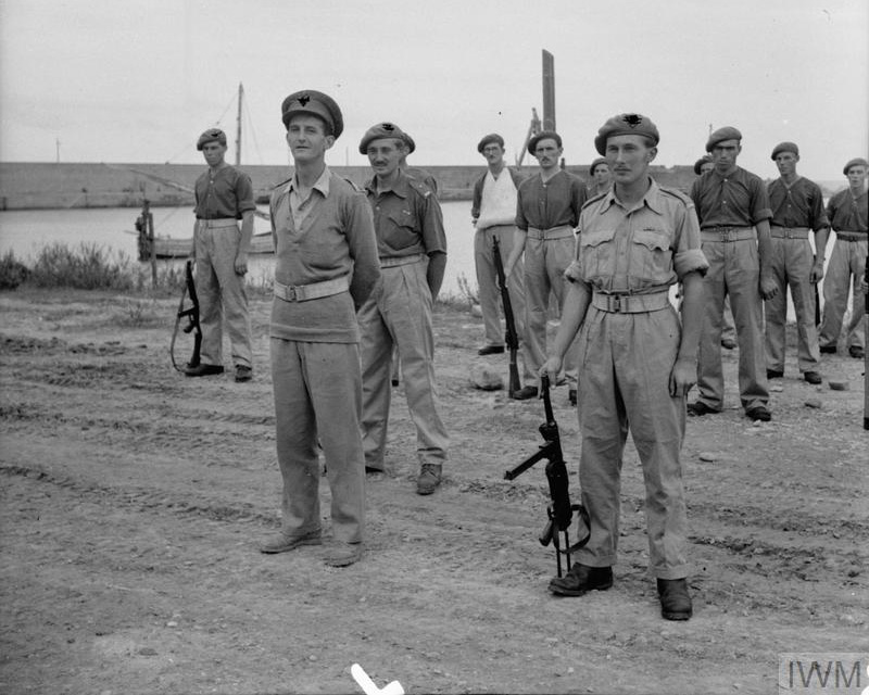 SAS soldiers on parade following the capture of the port of Termoli, Italy, 1943