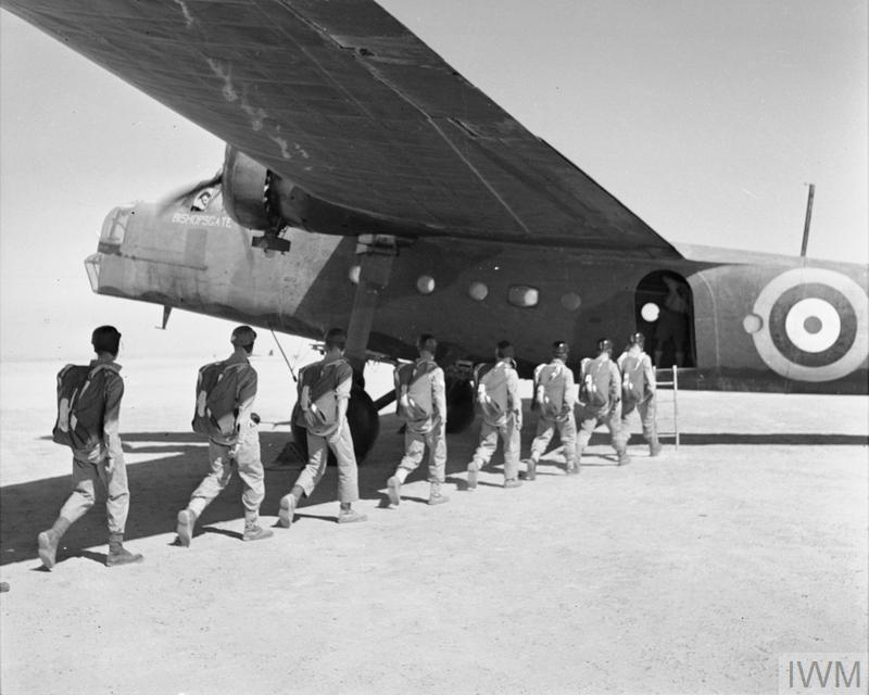 SAS recruits board an RAF Bristol Bombay aircraft during parachute training at Kabrit, c1941