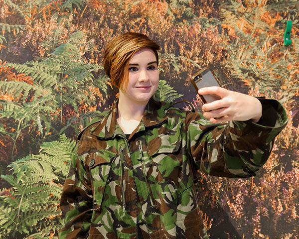 Visitor in camo selfie