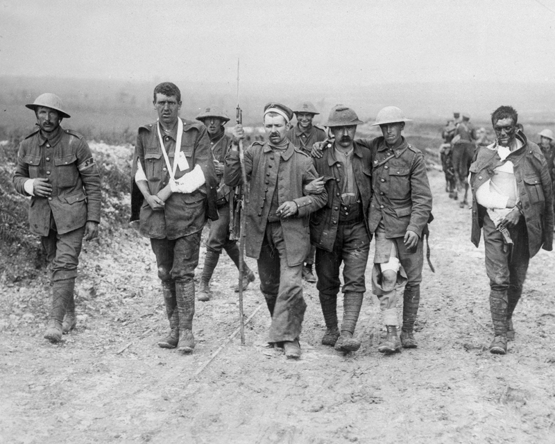 British and German wounded, Bernafay Wood, 19 July 1916