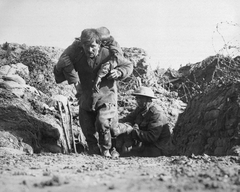 Bringing in a wounded man after the assault at Beaumont Hamel, 1 July 1916