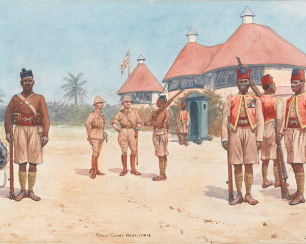 Soldiers of the Gold Coast Regiment outside the regimental HQ at Kumasi, 1912