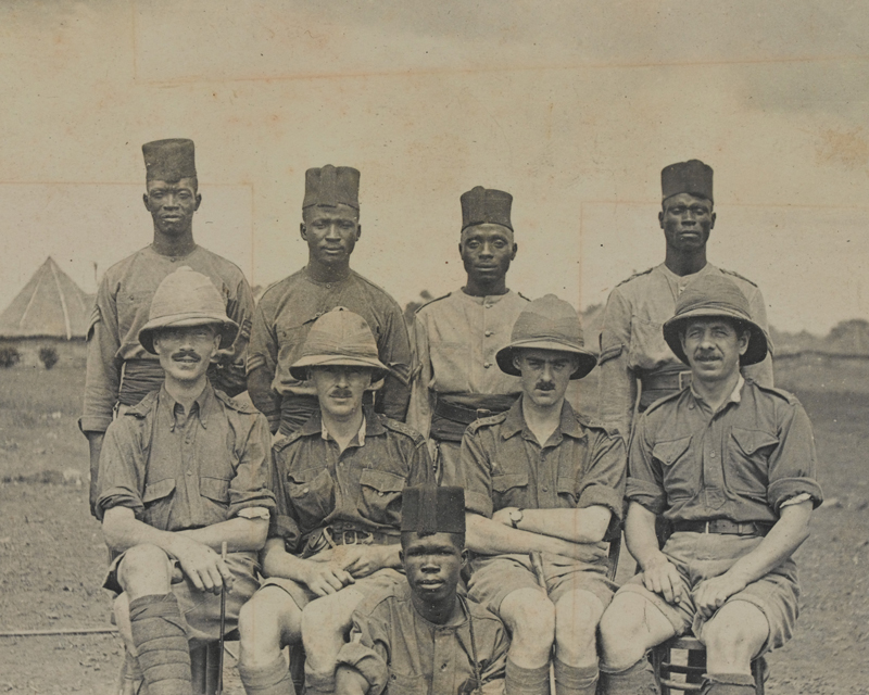 African soldiers and British officers of the West African Frontier Force, 1914