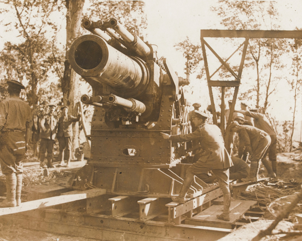 A 15-inch howitzer being prepared for action on the Somme, 1 July 1916