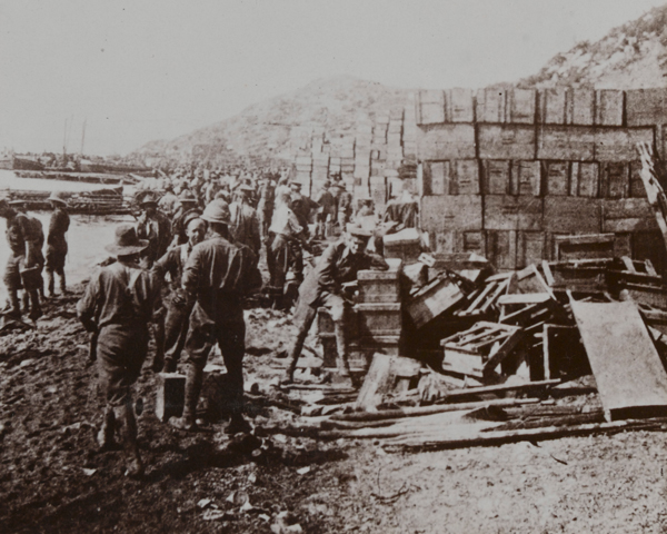 The Anzacs land supplies near Gaba Tepe, 1915