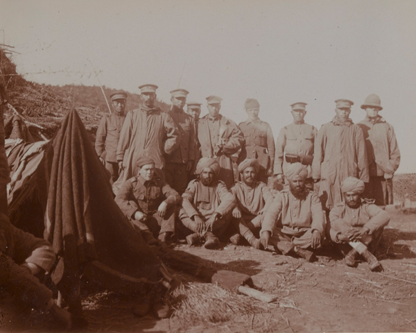 Japanese soldiers, South Wales Borderers and Sikhs, October 1914