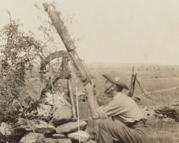 Using a Vickers gun against aircraft, Salonika, 1916