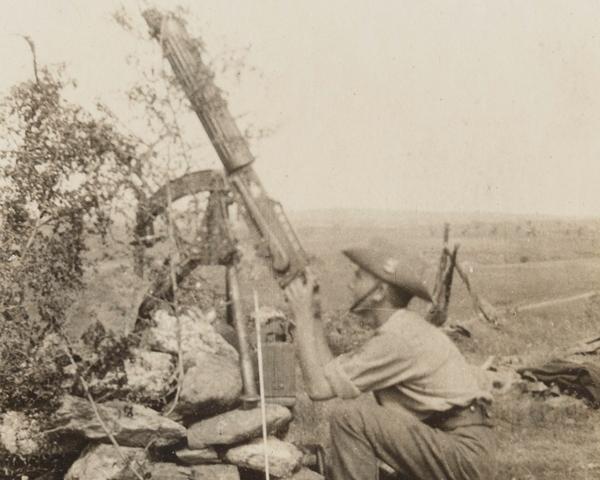 Using a Vickers gun against aircraft, Salonika, 1916