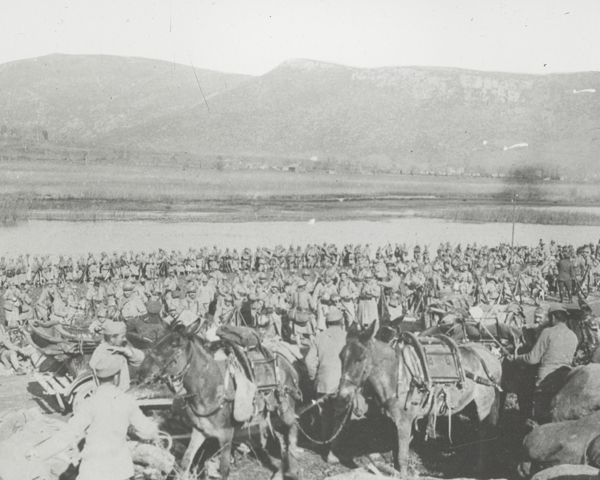 A mule team passes French soldiers, Macedonia, 1916