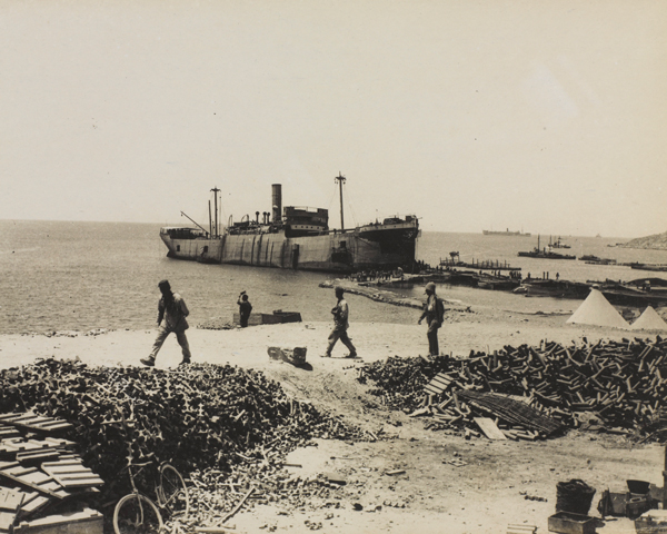 The 'River Clyde' anchored at V-Beach, Cape Helles, 1915