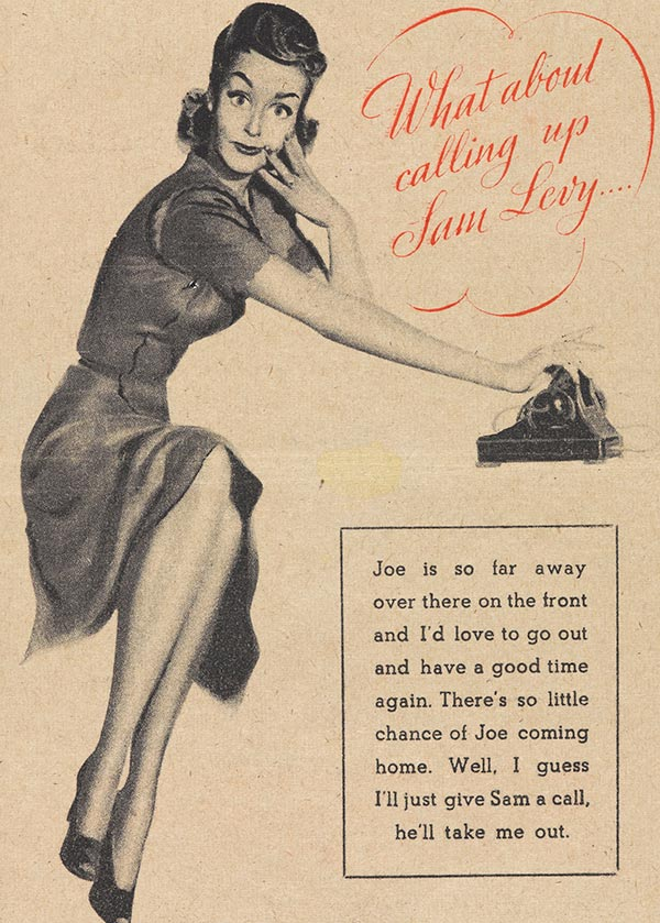German propaganda leaflet: 'What about calling up Sam Levy', 1943