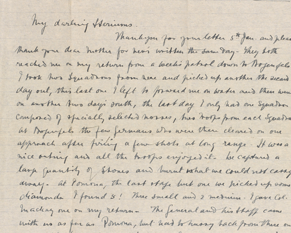 Letter from Major John Montgomery, 1st Mounted Rifles (1st Natal Carbineers), to his sister, 14 February 1915