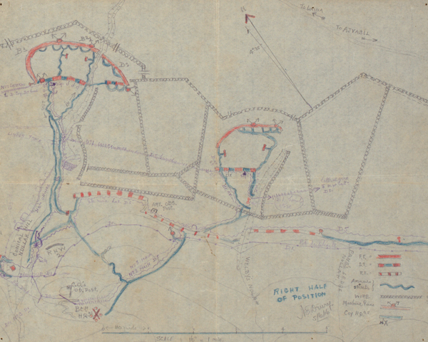 Sketch map of the 'Birdcage' defences held by 6th Battalion The Royal Dublin Fusiliers, 5 May 1916