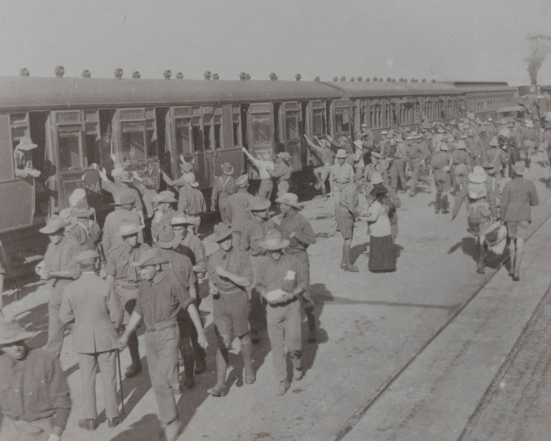 1st Mounted Rifles (1st Natal Carbineers) entrain at Cape Town on their return from Windhoek, 1915