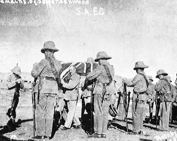 The South African Engineer Corps bury a comrade, 1915