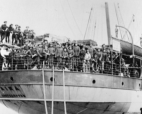 South African troops departing Cape Town for German South-West Africa, 1914